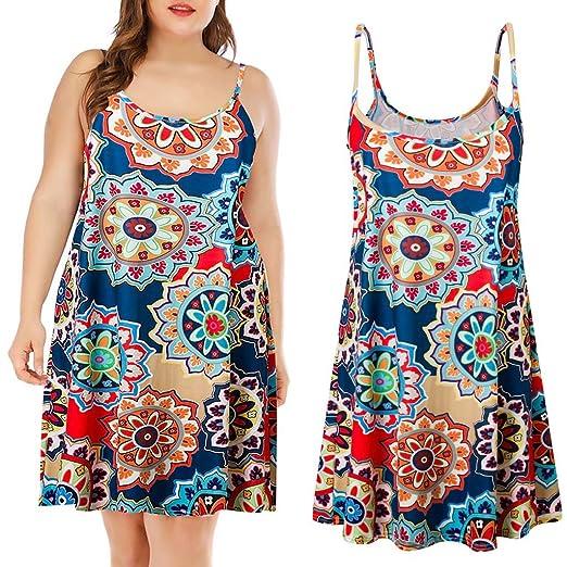 79a4f68ef580 Amazon.com: VonVonCo Womens Plus Size Casual Printed Sleeveless ...