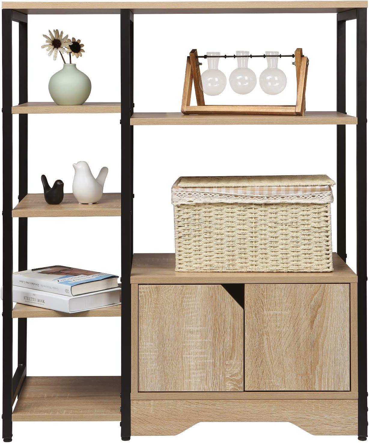 Light Oak Corner Bookcase Wooden for Living Room,Office,Bedroom,Bathroom WOLTU Bookcase 6 Tier Book Shelves Display Storage Rack Standing Shelf Unit with One Drawer