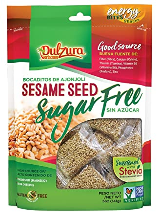 Ajonjoli Sesame Seed Bars, Sugar Free (Sin Azucar), sweetened with Stevia,