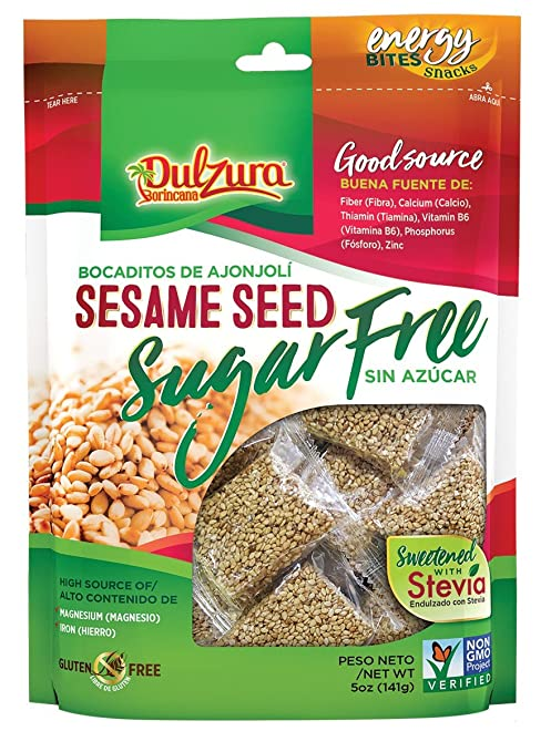 Amazon.com: Ajonjoli Sesame Seed Bars, Sugar Free (Sin Azucar), sweetened with Stevia, 5 oz [141 g]: