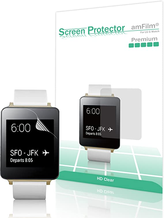 amFilm - LG G Watch Screen Protector HD Clear (Invisible) Premium (5-Pack)