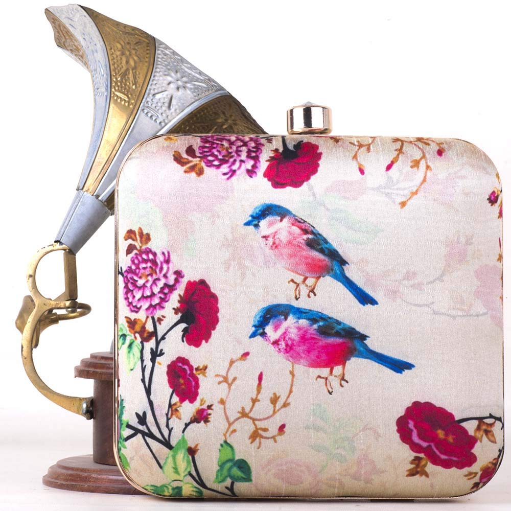 Inches 6 x 6 Sharvgun Hand Box Clutch With Detachable Sling For Girls and Womens Unique Design Birds Print Multicolor Clutches for Womens
