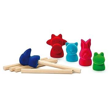 Erzi Caucho animales de madera marionetas del dedo del juguete . 4931ce5d7e8