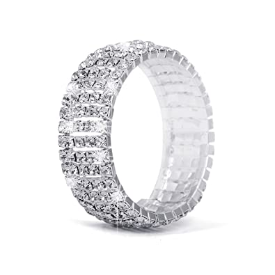 amazon com wedding bridal rhinestone cuff bracelet woman silver