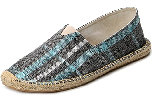 47a3fcbebc3ab ... IVANCA Men s Fashion Casual Slip-On Loafer Espadrille Flat Canvas Shoes  (Gray