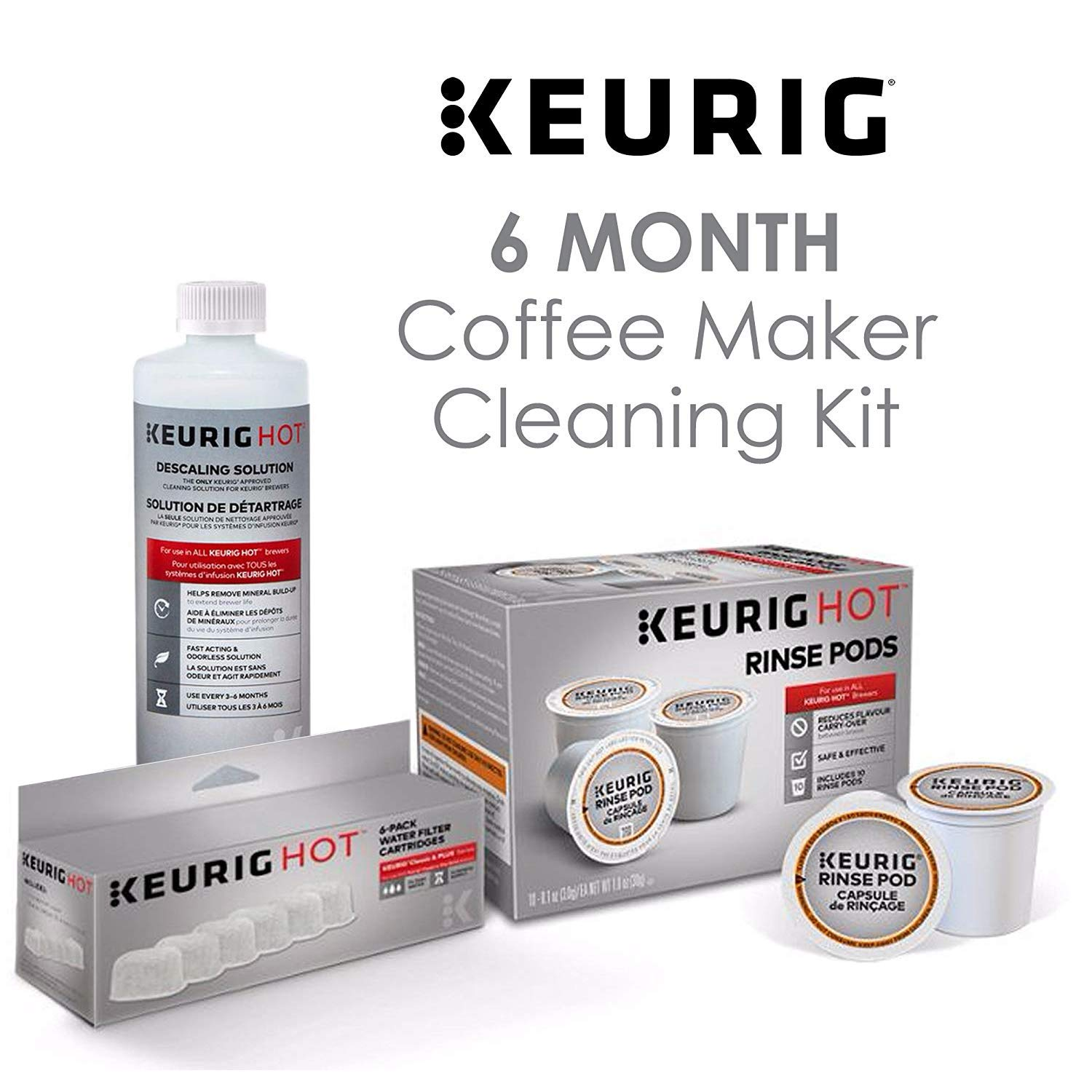 Keurig Maintenance Bundle Includes Replacement Water Filter Cartridges, Descaling Solution and Rinse Pods