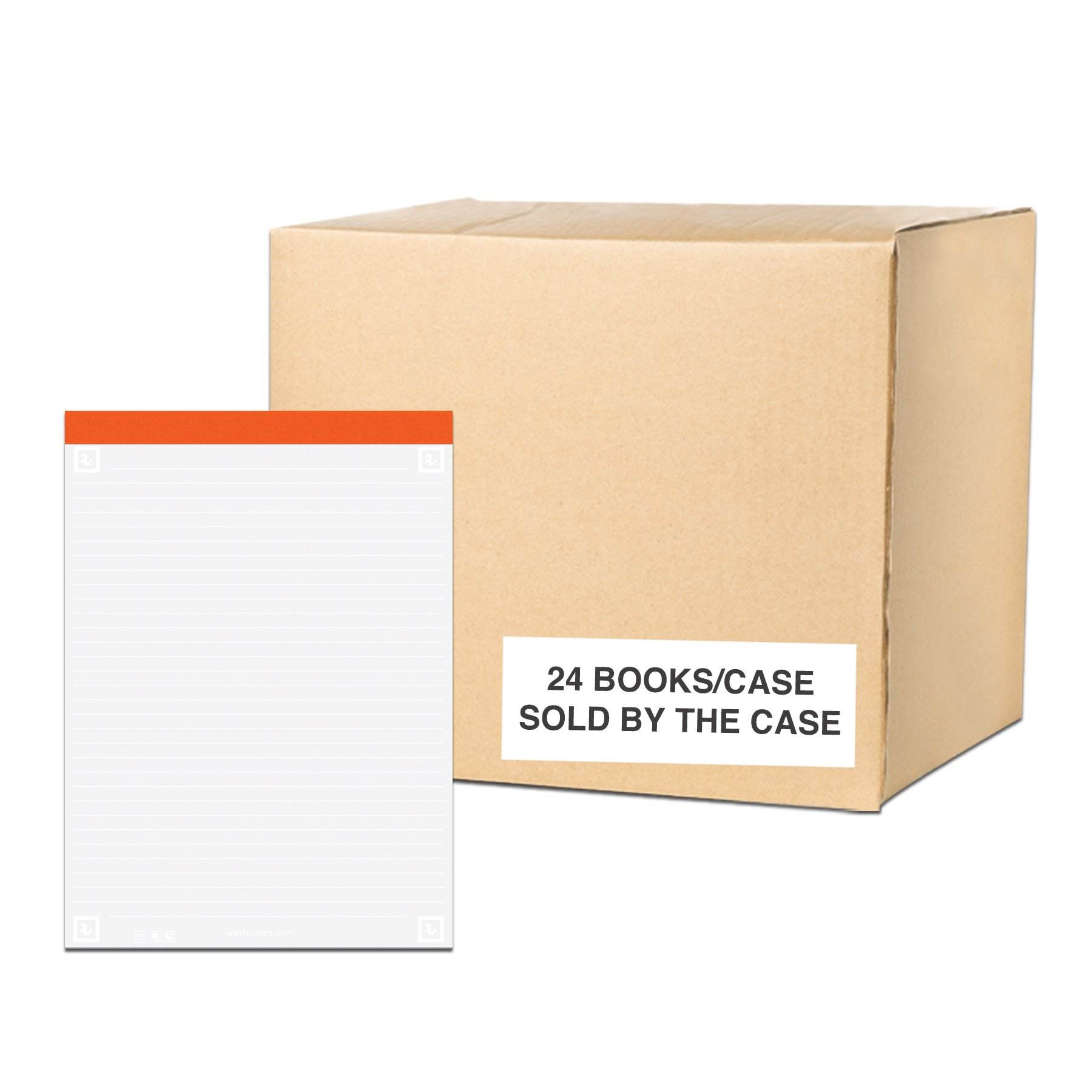 Case of 24Whitelines App Legal Pads, 8.5''x11.75'', Grey Lined White Paper, 40 sheets, 50# Paper Perforated