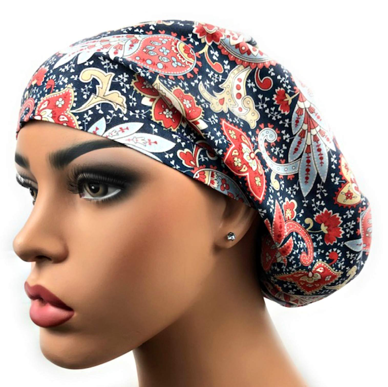Euro Surgical Scrub Hats Women's Adjustable Bouffant Cap Navy Blue Paisley by DK Scrub Hats