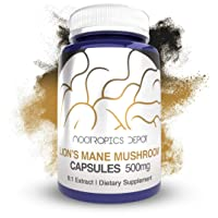 Lions Mane Mushroom Capsules   8:1 Whole Fruiting Body Extract   500mg   180 Count   Hericium erinaceus