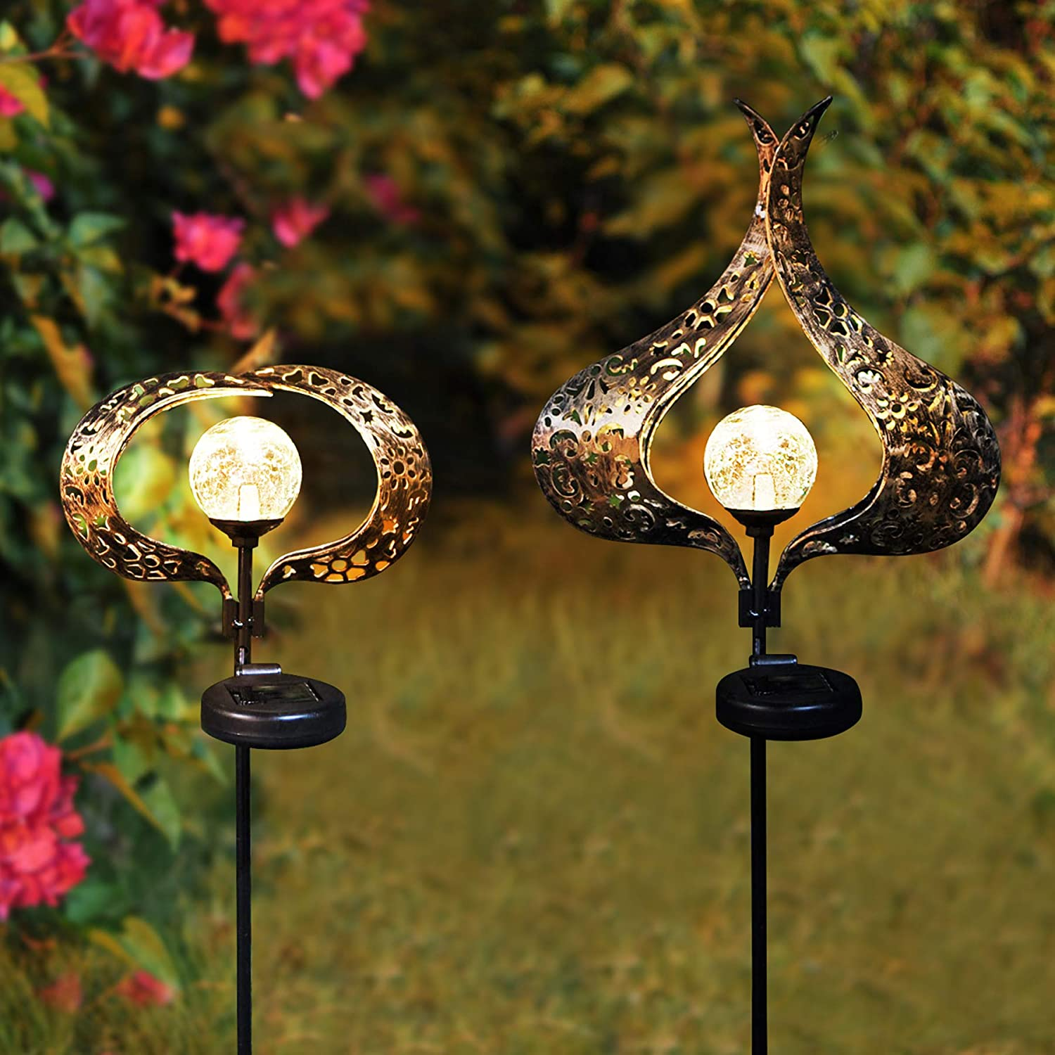 Solar Garden Lights Outdoor Decorative, 2 Pack Metal Solar Stake Lights, Crack Glass Ball Led Waterproof Solar Outdoor Decor for Yard Patio Lawn Pathway Walkway -Warm White