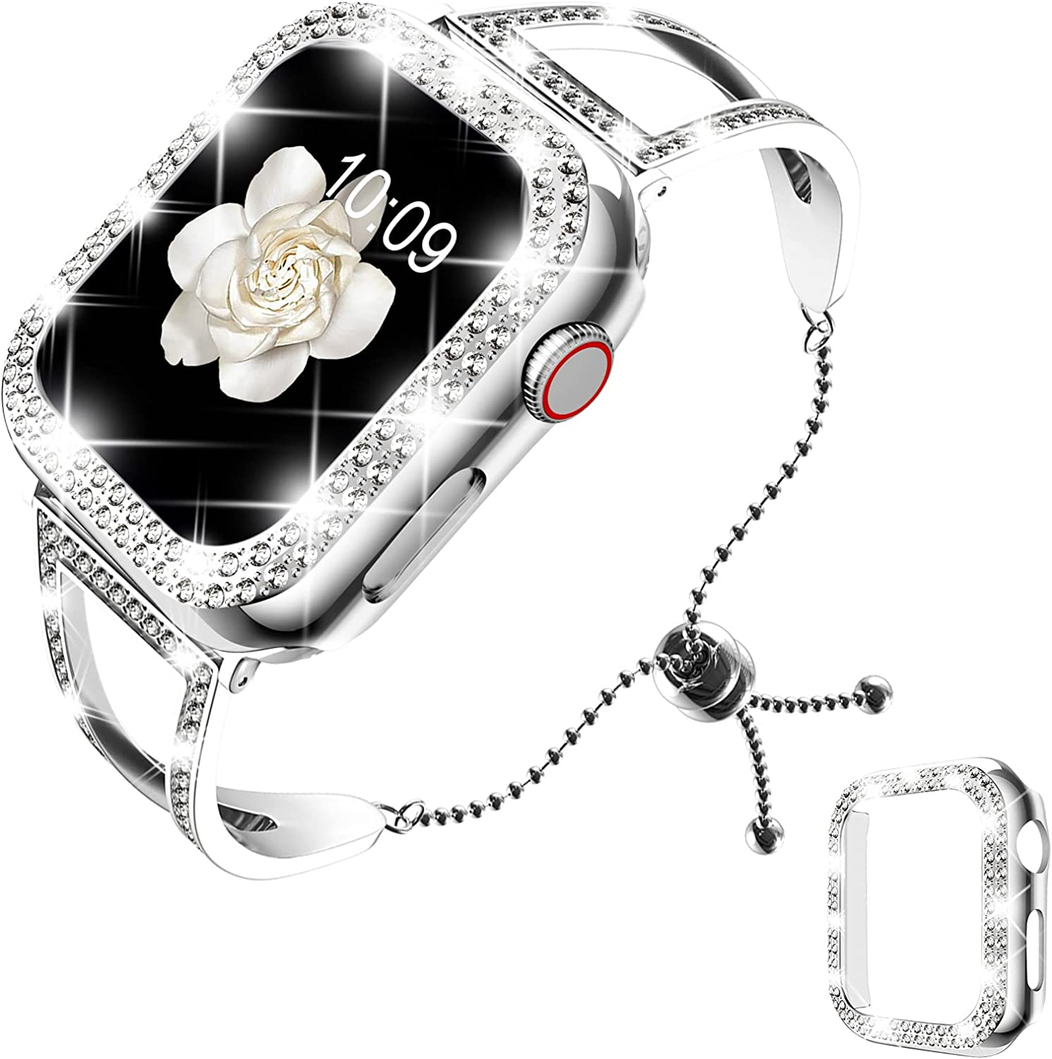 DABAOZA Compatible with Apple Watch Band 38mm 42mm with Case, Bling Women Dressy Bracelet Stainless Steel Band with Shiny Protective Bling Bumper Frame Cover for iWatch Series 3 2 1