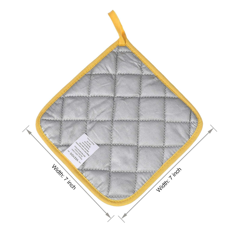 VEEYOO 100/% Cotton Pot Holders Hot Pads Quilted Trivet Mats Spoon Rest Heat Resistant 7x7 Aqua Blue