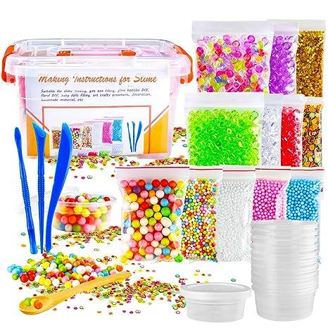 Biging - Juego de 15 piezas para hacer Slime (incluye bolas de espuma, perlas de pecera, confeti, ...