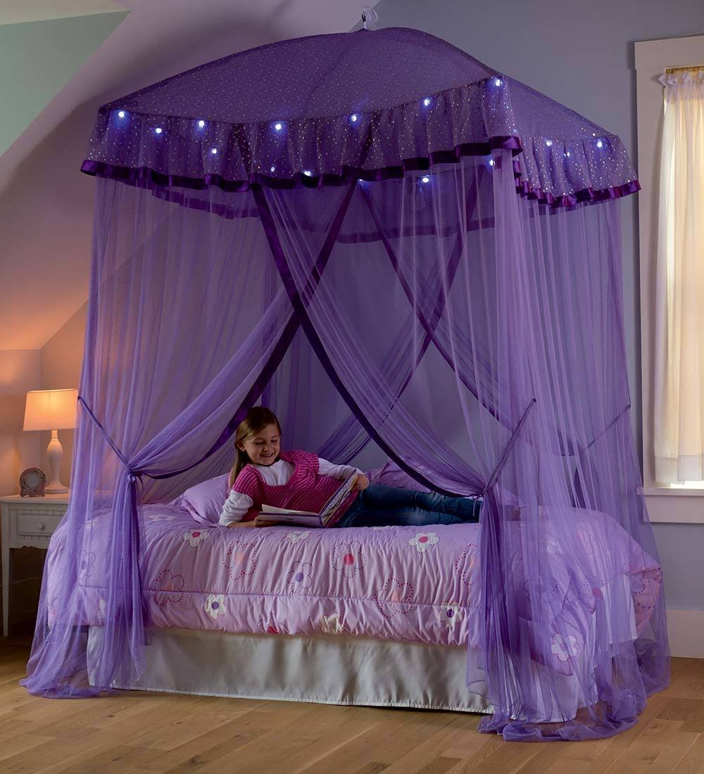 HearthSong® Sparkling Lights Hanging Bed Canopy with LED Light String