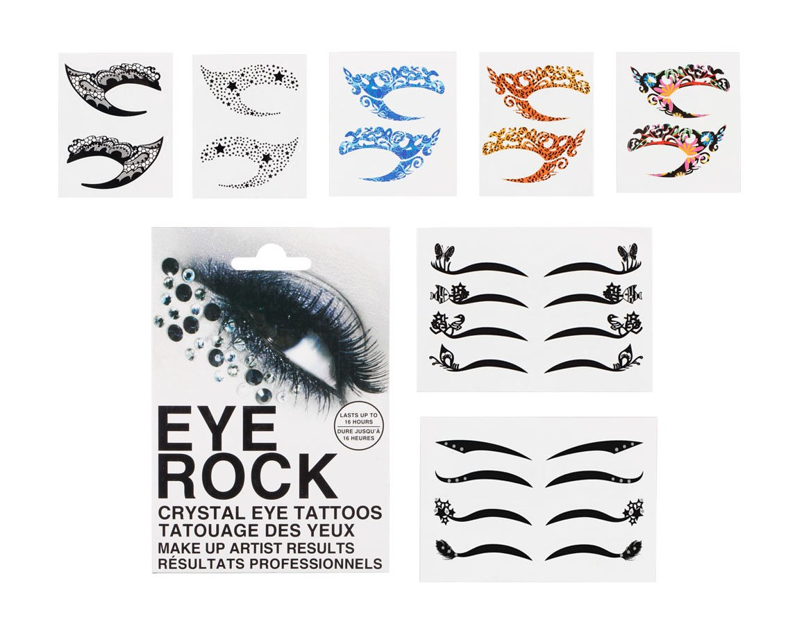 Bundle Monster 8pc Fashionable Fun Temporary Eye Tattoo Makeup Crystal Gem Glitter Liner Packs- Butterfly, Wings, Star