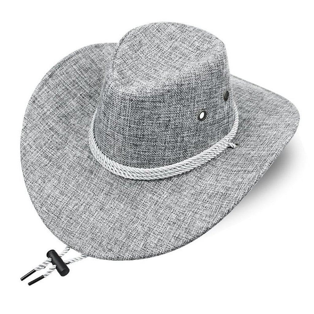 Mens Cowboy Hats Outdoor Wide Brim Breathable Beach Sun Caps Unisex