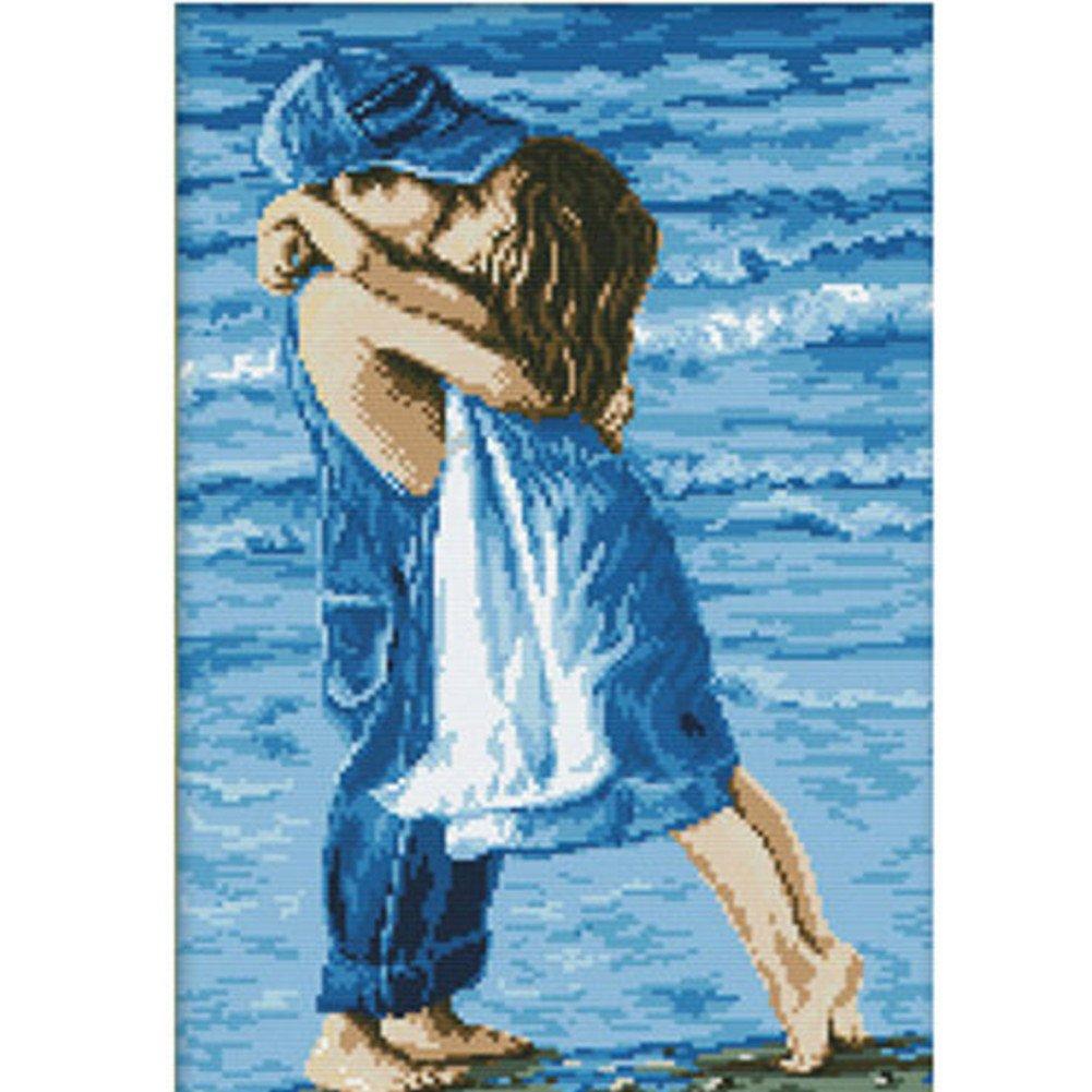 Labellevie First Seachild Romantic Kiss Cross Stitch Embroidery Decor Painting Art Home 16*22 4336931982