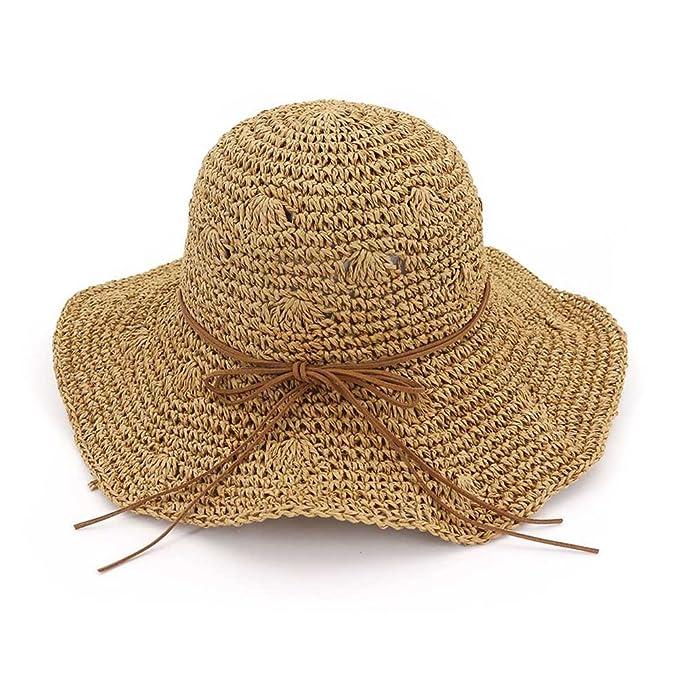 Zhuhaitf Playa de Verano Sombrero de sol Plegable Hueco Suave Ala Ancha  Sombrero de paja Bowknot Visera para Mujeres  Amazon.es  Ropa y accesorios 4f293841ca0