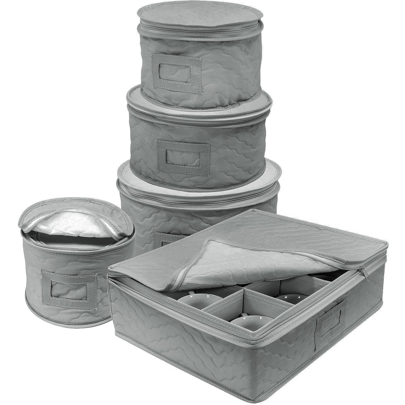Sorbus Dinnerware Storage 5-Piece Set for Protecting or Transporting Dinnerware - Service for 12 - Round Plate and Cup Quilted Protection, Felt Protectors for Plates, Fine China Case (Gray) STRG-DSH-GRYA