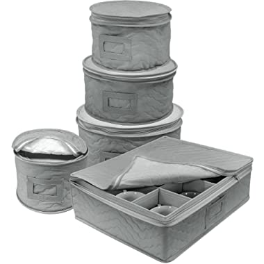 Sorbus Dinnerware Storage 5-Piece Set for Protecting or Transporting Dinnerware — Service for 12 — Round Plate and Cup Quilted Protection, Felt Protectors for Plates, Fine China Case (Gray)