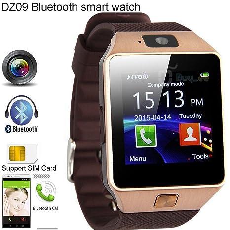 shungho DZ09 Bluetooth reloj inteligente GSM SIM para iPhone Samsung LG Android teléfono mate oro
