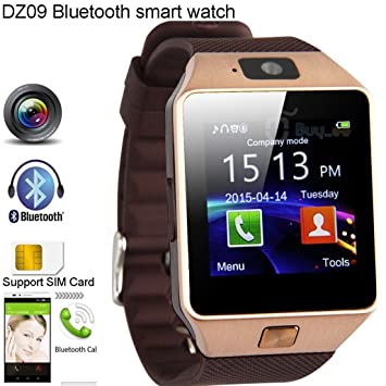 shungho DZ09 Bluetooth reloj inteligente GSM SIM para iPhone Samsung LG Android teléfono mate oro: Amazon.es: Juguetes y juegos