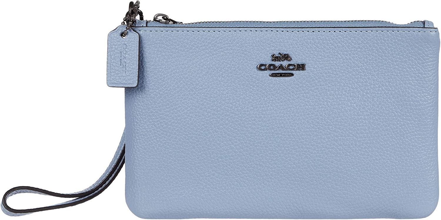 COACH Polished Pebble Small Wristlet V5/Bluebell One Size