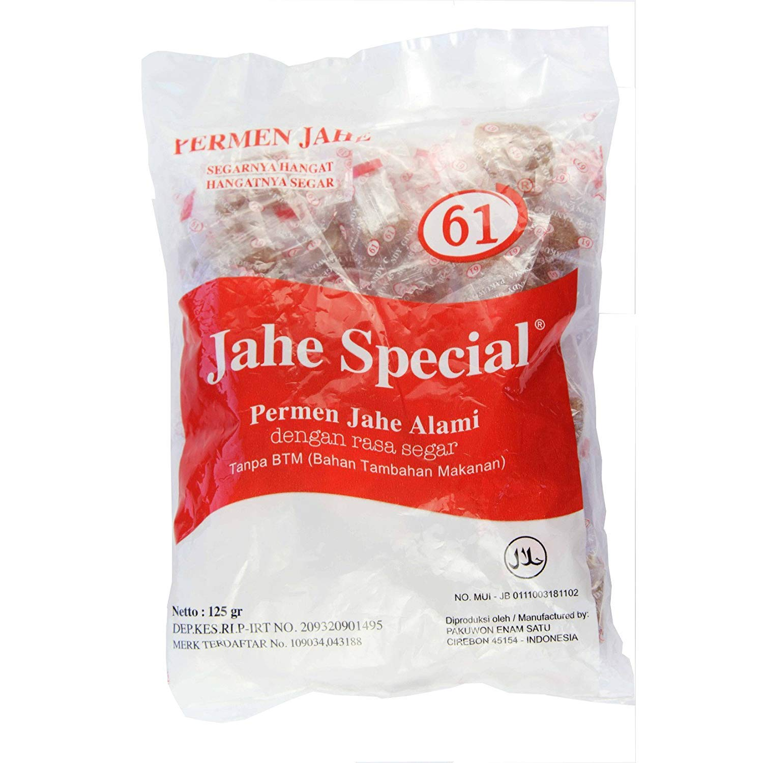 Jahe Spesial 61 Permen - Natural not-Sticky Ginger Candy, 4.4 Oz (Pack of 6)