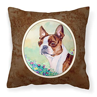 Caroline's Treasures 7222PW1414 Red and White Boston Terrier Fabric Decorative Pillow, 14Hx14W, Multicolor : Garden & Outdoor