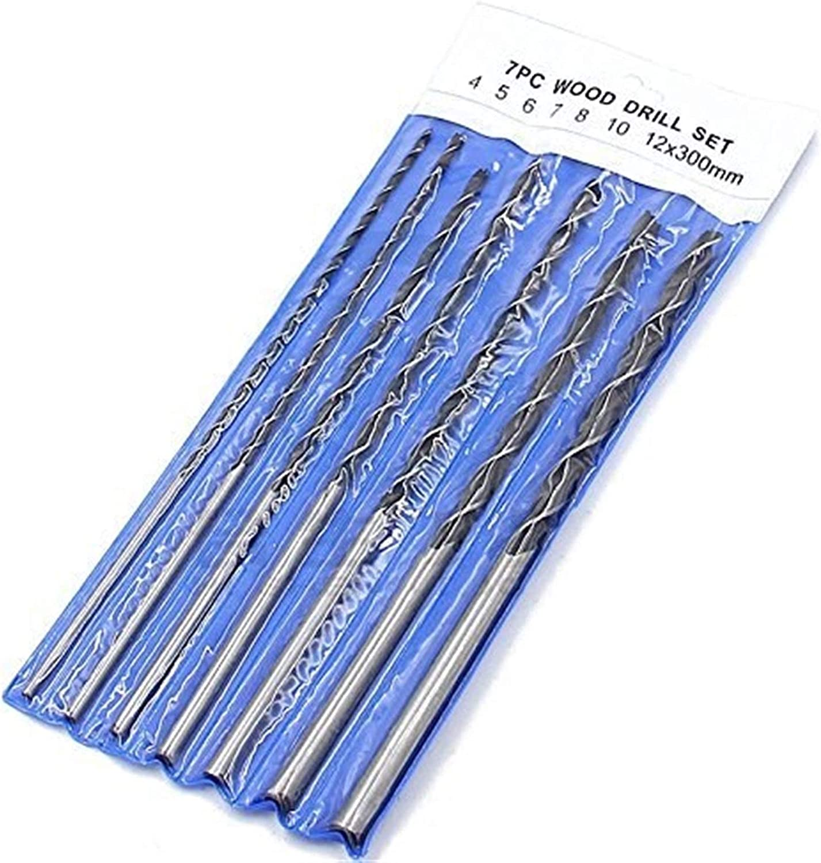 N A 7pc X Long Wood Drill Bit Set 4mm 5mm 6mm 7mm 8mm 10mm 12mm x 300mm Brad Point