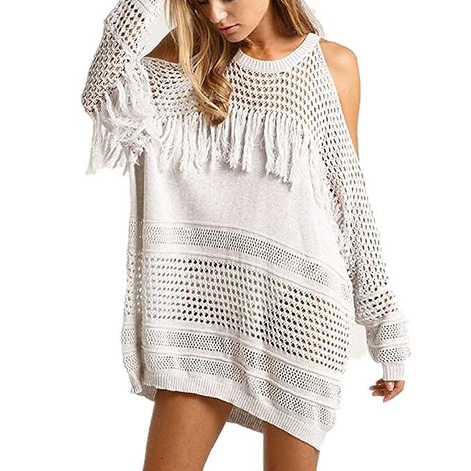 1b392aa08df6 GenialES Túnica de Punto Crochet Pareo para Playa Bikini Cover Up ...