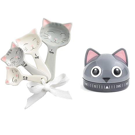 Cucharas medidoras, diseño de gatos gato y temporizador – Bundle
