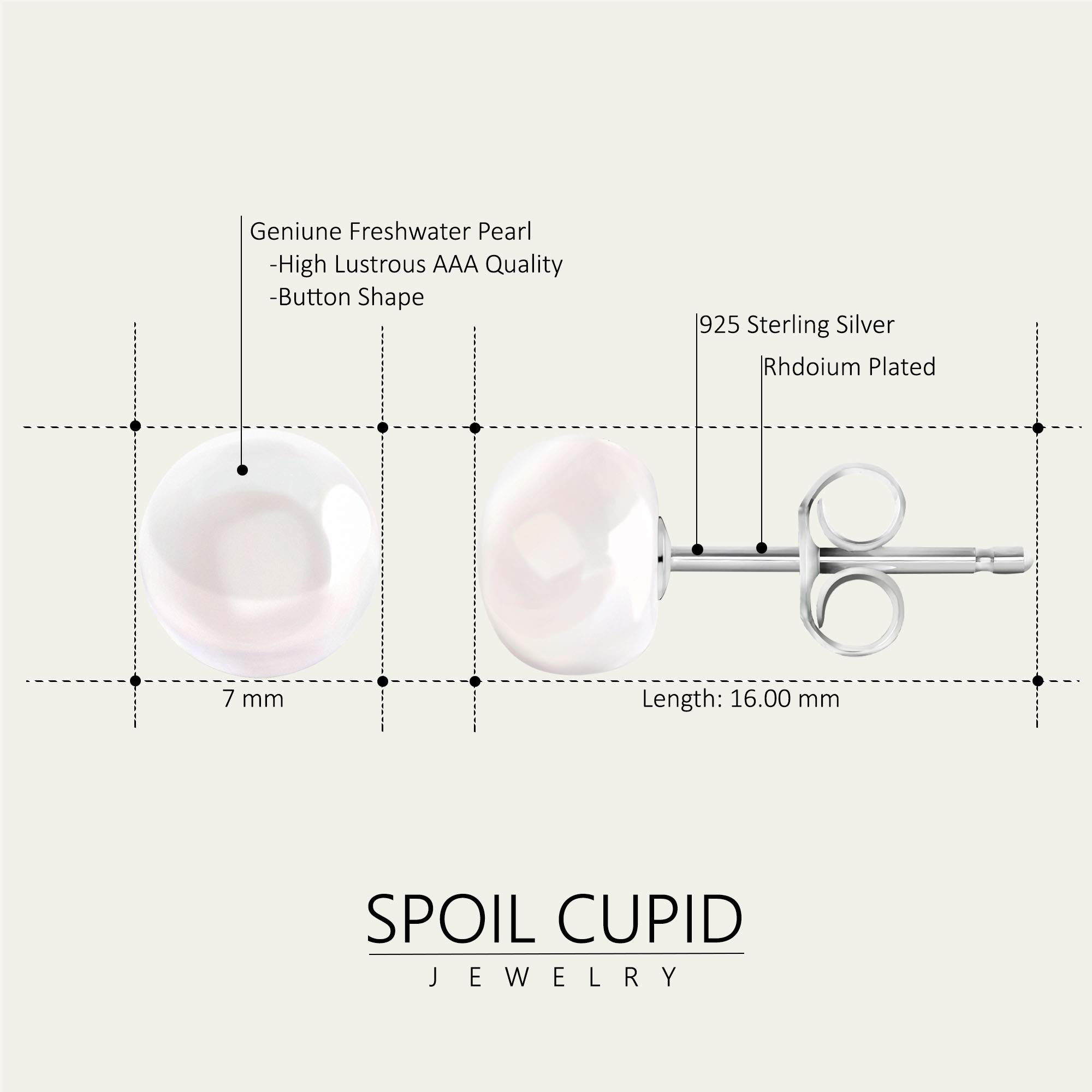 Spoil Cupid White Button Freshwater Cultured Pearl Stud Earrings with Sterling Silver, (7-7.5mm)