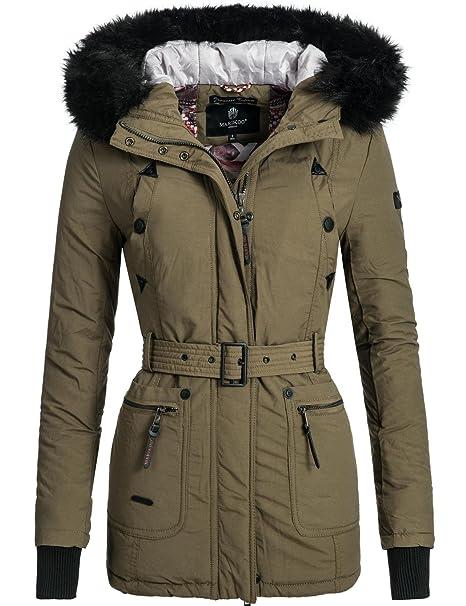 e9c317d4f Marikoo Shana - Chaqueta de invierno para mujer, con capucha con pelo negro  artificial verde XL : Amazon.es: Ropa y accesorios