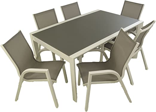 Edenjardi Conjunto Muebles Exterior, Mesa Extensible 160/210, Sillones apilable, 6 plazas, Aluminio Blanco, Textilene taupé: Amazon.es: Jardín