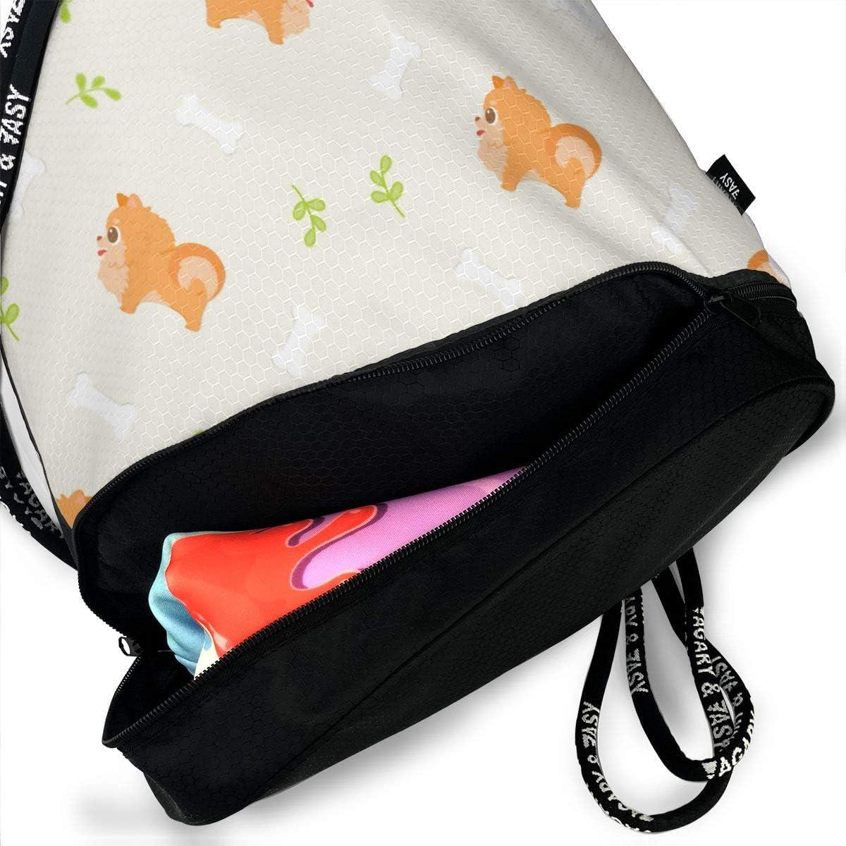 Drawstring Backpack Pomeranian Dog Shoulder Bags