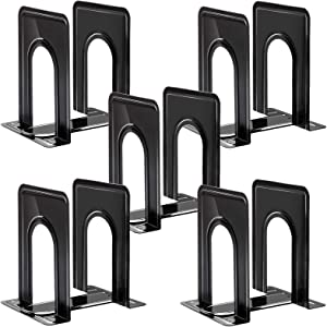Metal Bookends, Heavy Duty Black Bookend Support, 6 x 5 x 6 Inch, Set of 5 Pairs