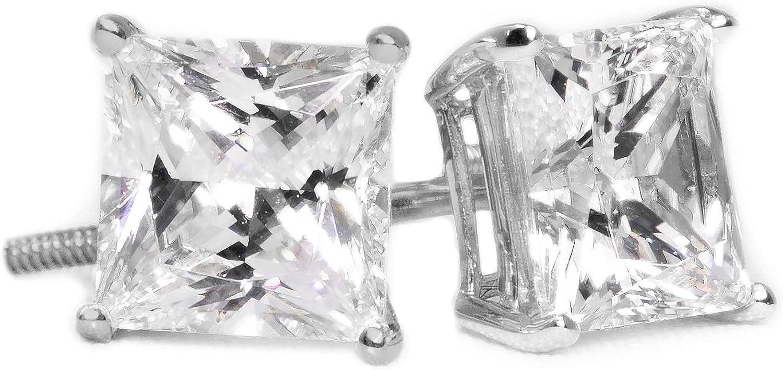 Pendientes de diamante para mujeres y hombres, pendientes de tuerca de diamante para mujeres y hombres, oro blanco de 14 quilates, 2 unidades de 4 quilates, corte princesa, pendientes de rosca, unisex