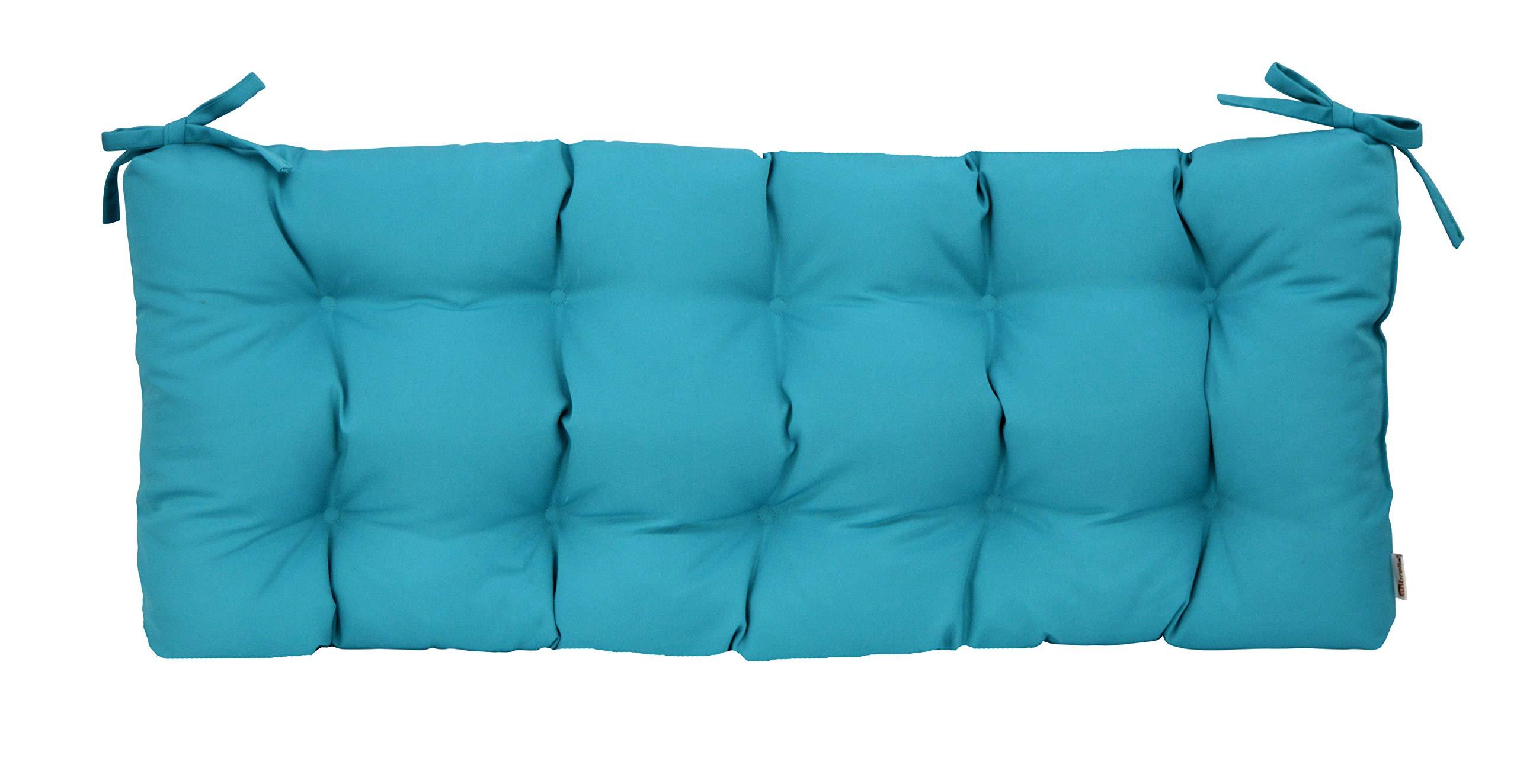 Resort Spa Home Decor Sunbrella Canvas Aruba Blue Teal Indoor/Outdoor Tufted Cushion Ties Bench, Swing, Glider - Choose Size (36'' x 14'')