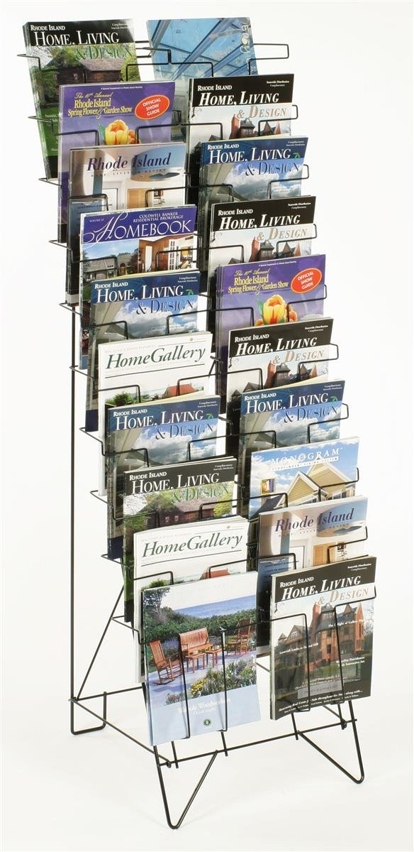 Displays2go Tiered Black Wire Magazine Rack, Free Standing Floor Fixture with 20 Stacked Pockets, Sign Slot (WRF10T19)