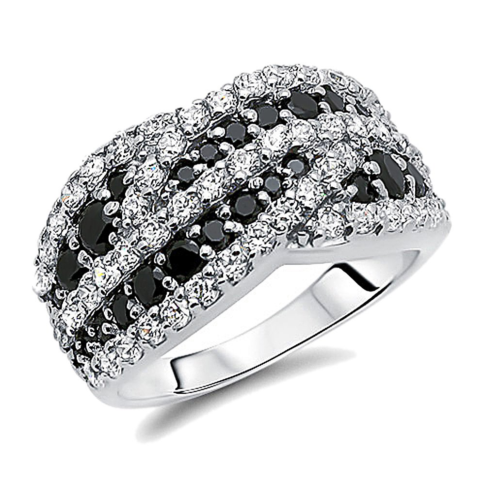 Double Accent Sterling Silver Rhodium Plated, Wedding Ring Round Black & White CZ Anniversary Ring Wedding Band