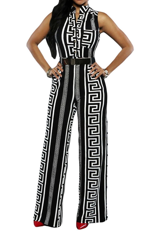 Roswear Women's Geometric Printed Plunging V Neckline Belted Wide Leg Jumpsuit