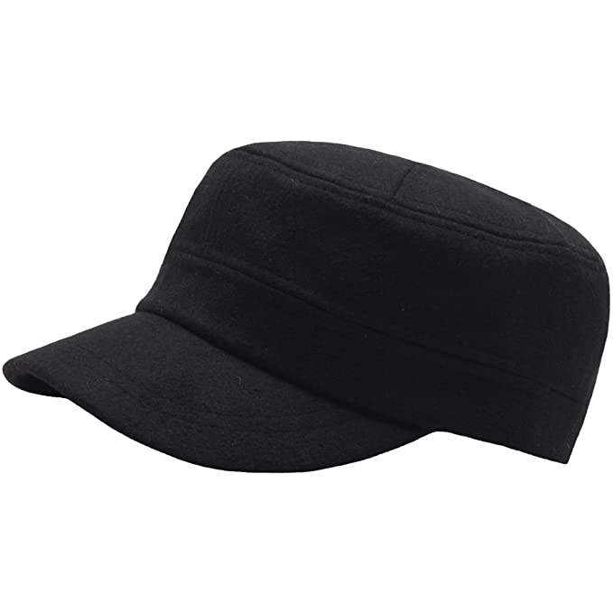 A108 Wool Winter Warm Simple Design Club Army Cap Cadet Military Hat (Black) 798d8be5cead