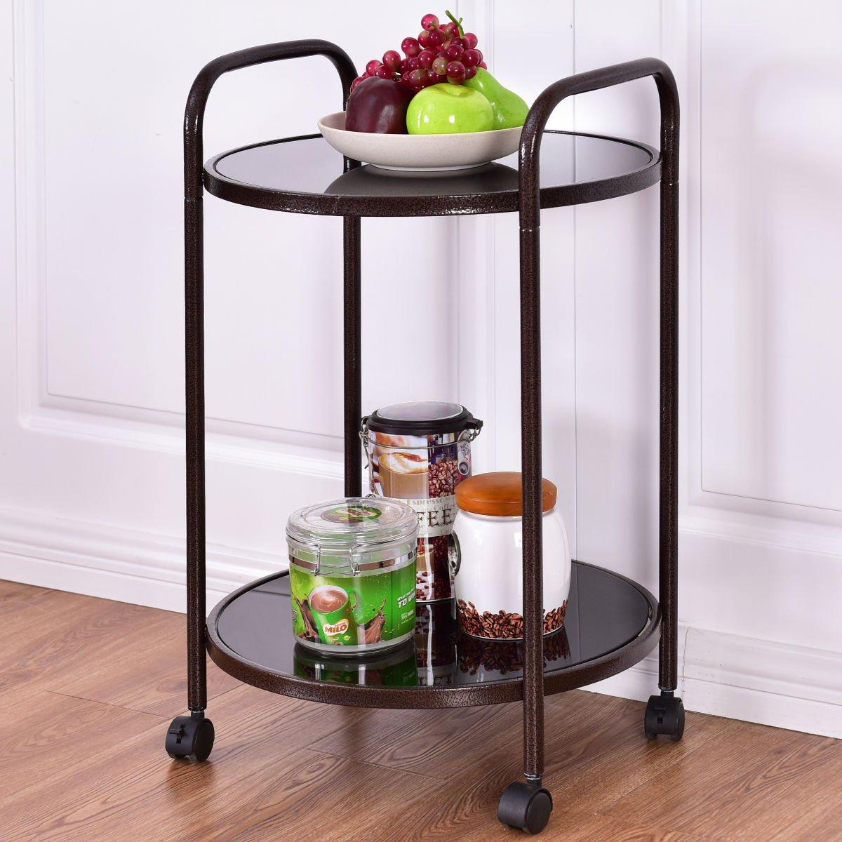 ShopForAllYou Kitchen cart Island 2-Tier Round Rolling Kitchen Trolley Serving Cart Dining Bar Storage Utility New