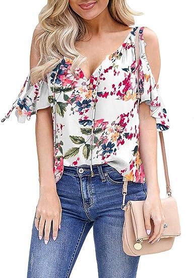 LUNULE VENMO Camisetas Mujer Verano, Moda Blusa de Hombro Frío con Estampado Floral Casual Camiseta de Manga Corta Camisas de Verano Mujer: Amazon.es: Ropa y accesorios