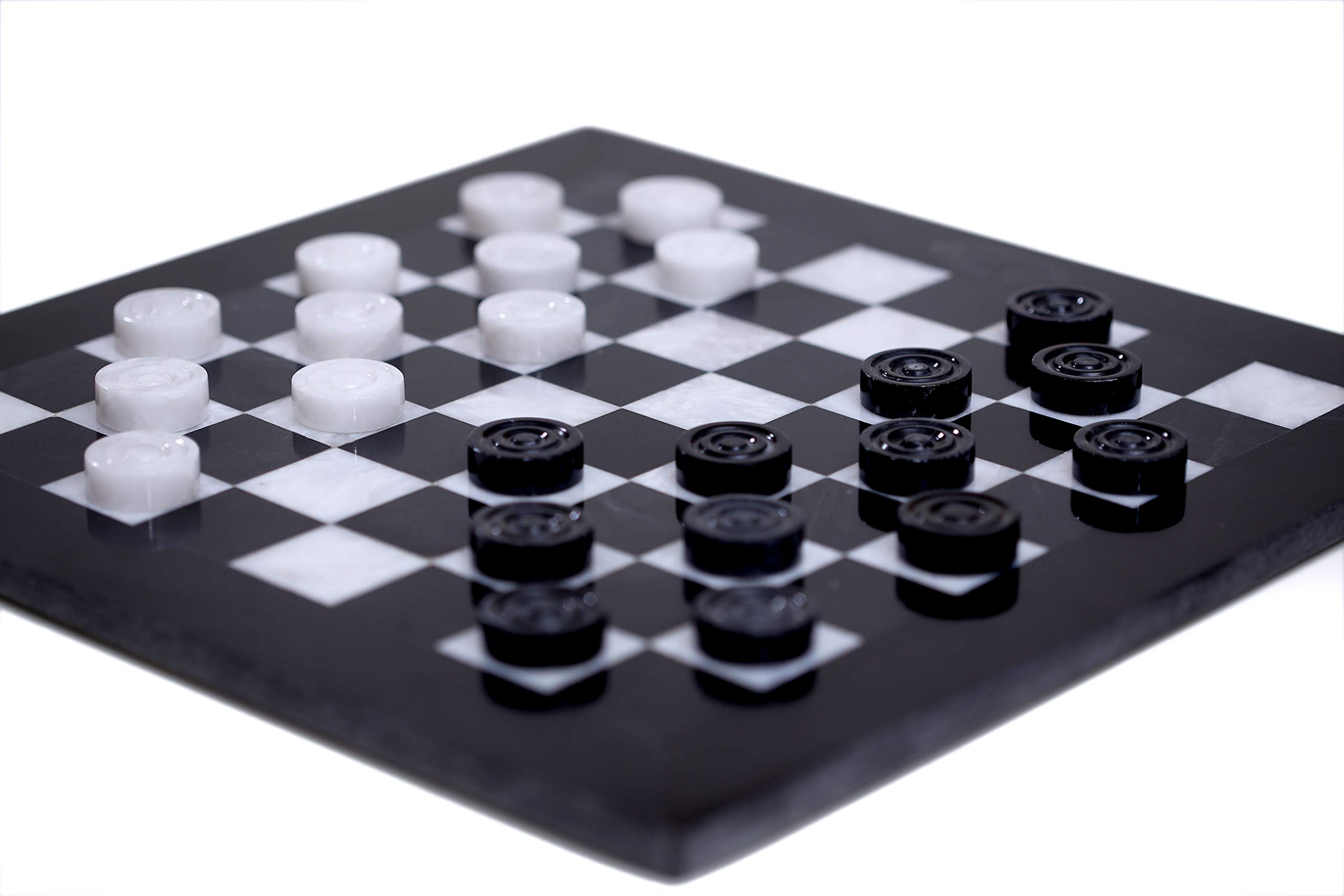 RADICALn Checkers Board Game 16 Inches Black and White Handmade Marble Coffee Time 2 Player Tournament Checker Set - Non Wooden Non Cribbage Non Chess - Portable Table Draughts Kids Board Games Sets