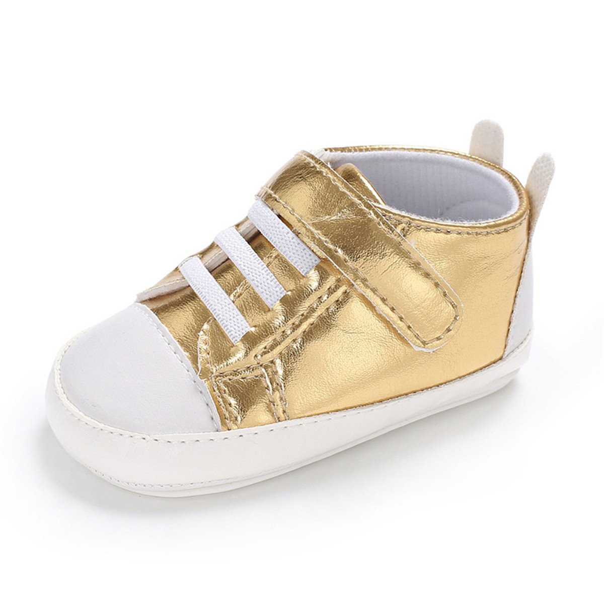 Toddler Girls Boys Baby Canvas Shoes Soft Sole First Walker Infant Newborn Crib Shoes (13cm(12-18 Months), 2.Gold)
