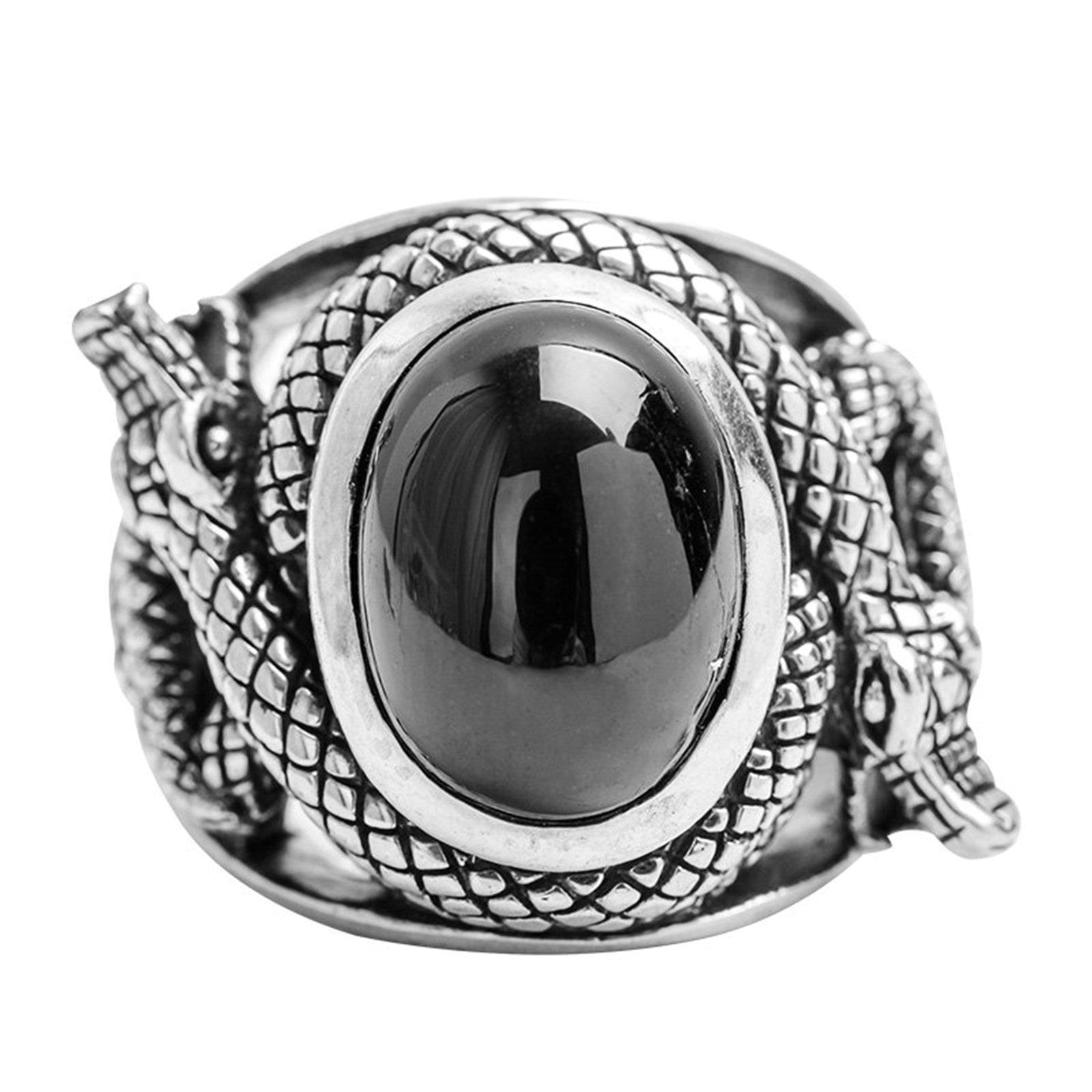 Epinki 925 Sterling Silver Punk Rock Vintage Gothic Black Onyx Two Snake Ring for Men Size 10 by Epinki