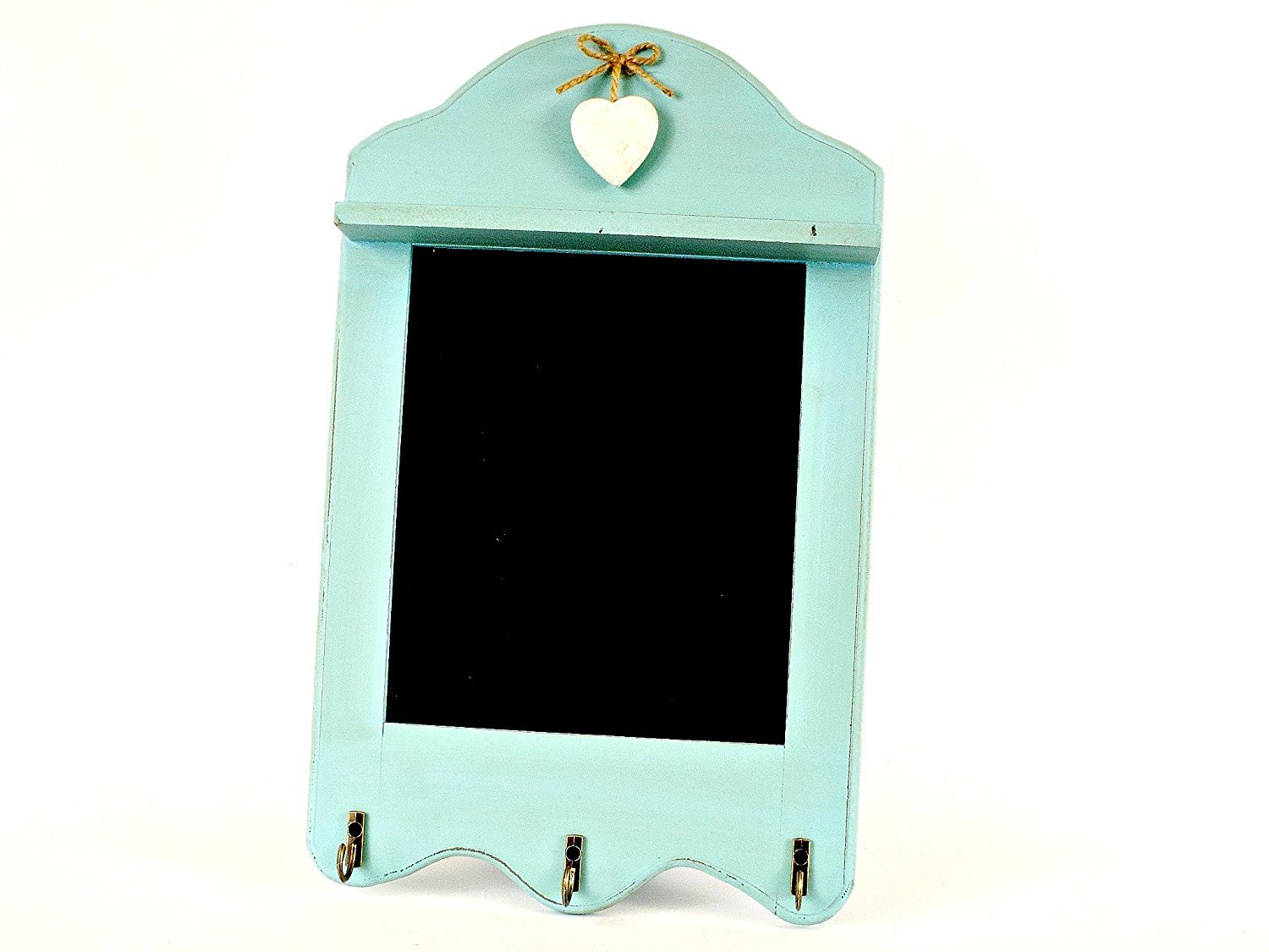 CHALKBOARD DUCK EGG BLUE WITH HEART AND HOOKS MEMO BOARD KITCHEN