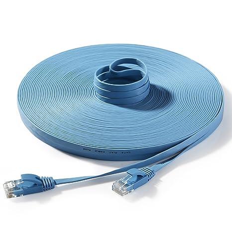 Amazon.com: Hexagon Network - Ethernet Cable Cat6 Flat 100ft Blue ...